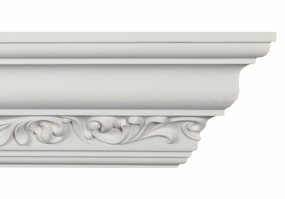 Crown moulding cm 2093 crown molding white polyurethane for 9 inch crown molding