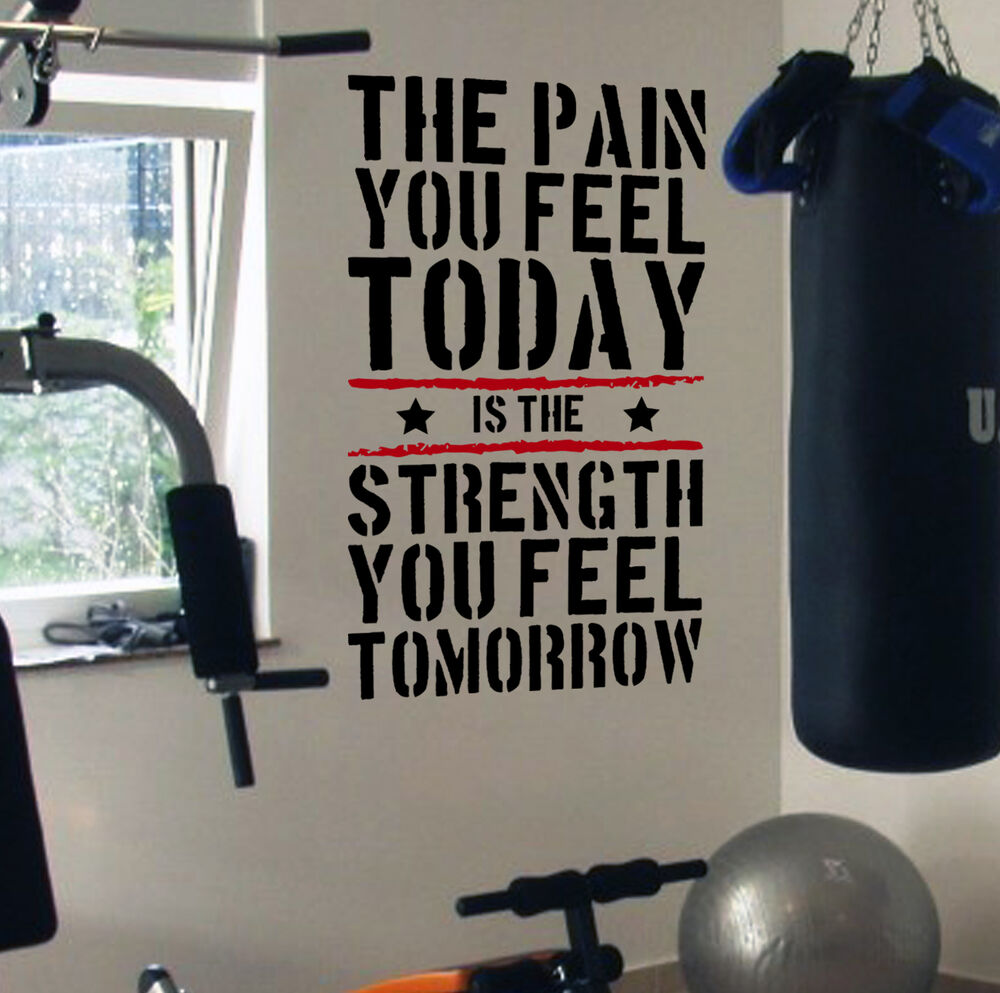 Fitness Gym Logo: Pain Today Strength Tomorrow Gym Motivational Wall Decal