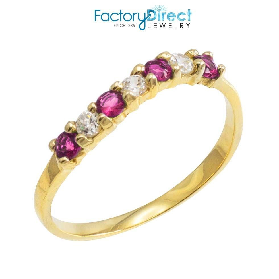 K Gold Wavy Stackable Cz Alexandrite Ring Ebay