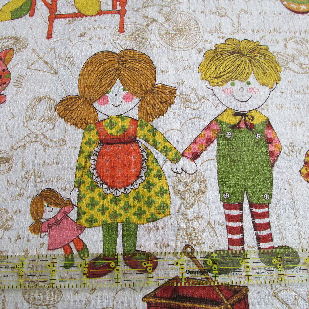Vtg 70s juvenile kids room barkcloth type home decor for Fabrics for children s rooms