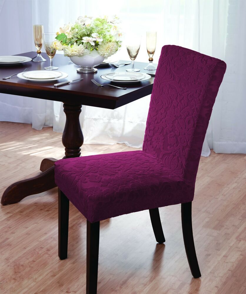 Stretch Dining Room Chair Covers Luxurious Velvet Damask Dining Chair Cover Beige Burgundy Brown