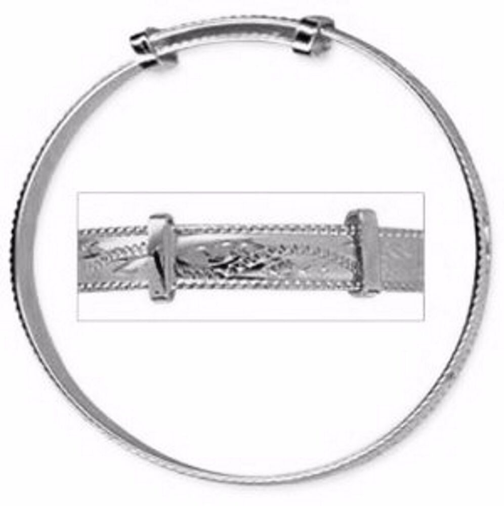 New Solid 925 Sterling Silver Rope Edge Engraved Expanding