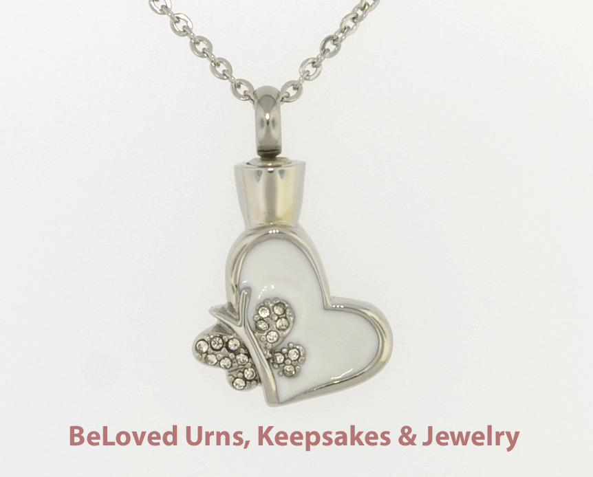 White heart with butterfly cremation jewelry pendant for Father daughter cremation jewelry