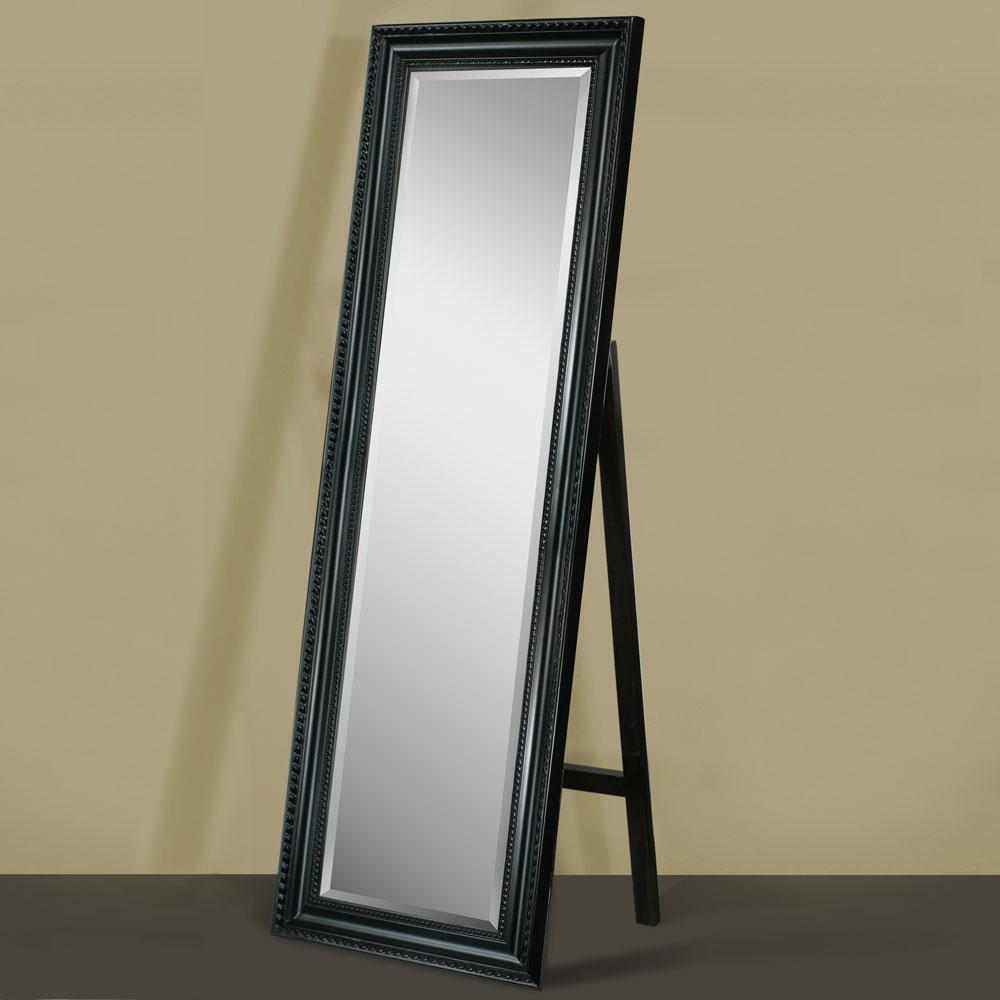 Carousel black framed full length beveled floor mirror for Framed floor mirror