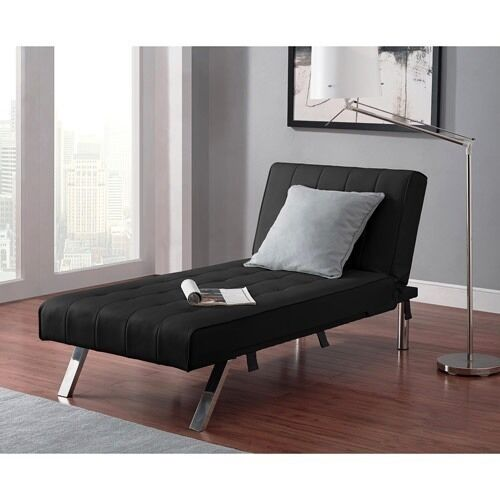 Convertible futon chaise lounger sofa bed sleeper couch dorm chair new ebay - Sofa bed with chaise lounge ...