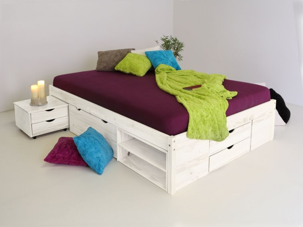 till funktionsbett singlebett bett mit schubladen stauraum kiefer wei 140x200 ebay. Black Bedroom Furniture Sets. Home Design Ideas