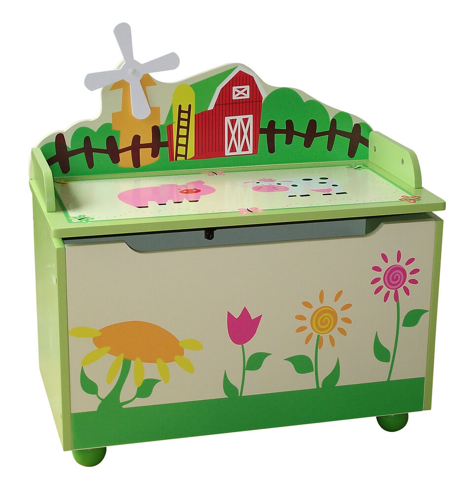 Farm Animal Themed Kids Childrens Wooden Toy Box Bench