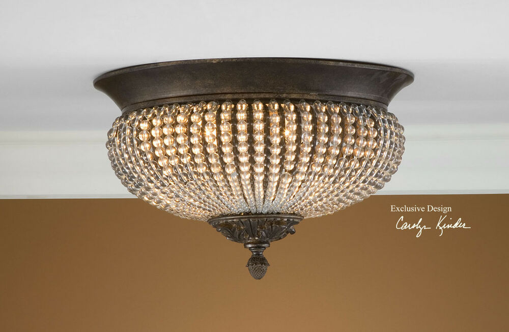 UNIQUE CRYSTAL BEADS BRONZE WROUGHT IRON CEILING LIGHT FIXTURE RUSTIC TUSCAN