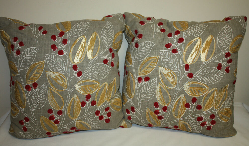 Red Throw Pillows For Bed : Throw Pillows Decorative Gray Metallic Gold Red Linen Accent Chair Couch Bed eBay