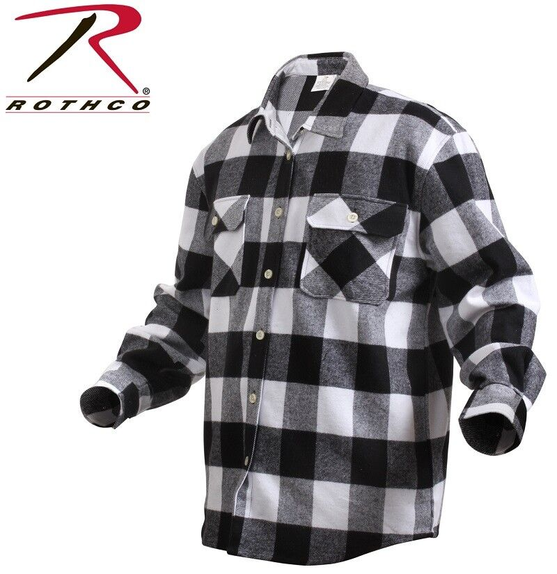 White extra heavyweight brawny buffalo plaid flannel long for Flannel checked long sleeve shirt