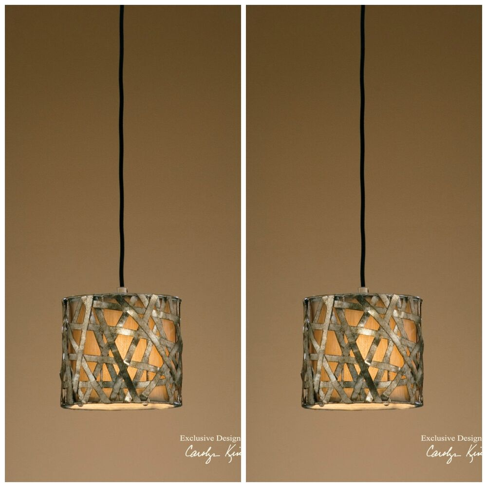 Two new 8 silver metal hanging pendant lights ceiling for Metal hanging lights