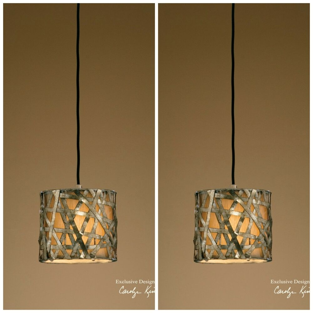 TWO NEW 8 SILVER METAL HANGING PENDANT LIGHTS CEILING