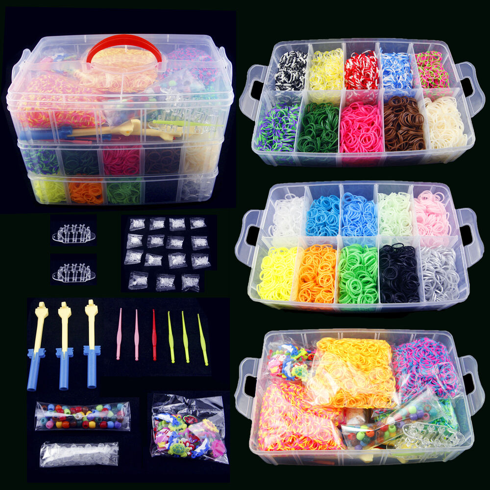 15000 diy colorful rainbow rubber loom bands bracelet making kit set ebay. Black Bedroom Furniture Sets. Home Design Ideas