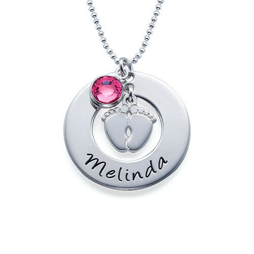 Baby Gift Jewelry For Mom : Mom jewelry engraved necklace with baby feet charm and