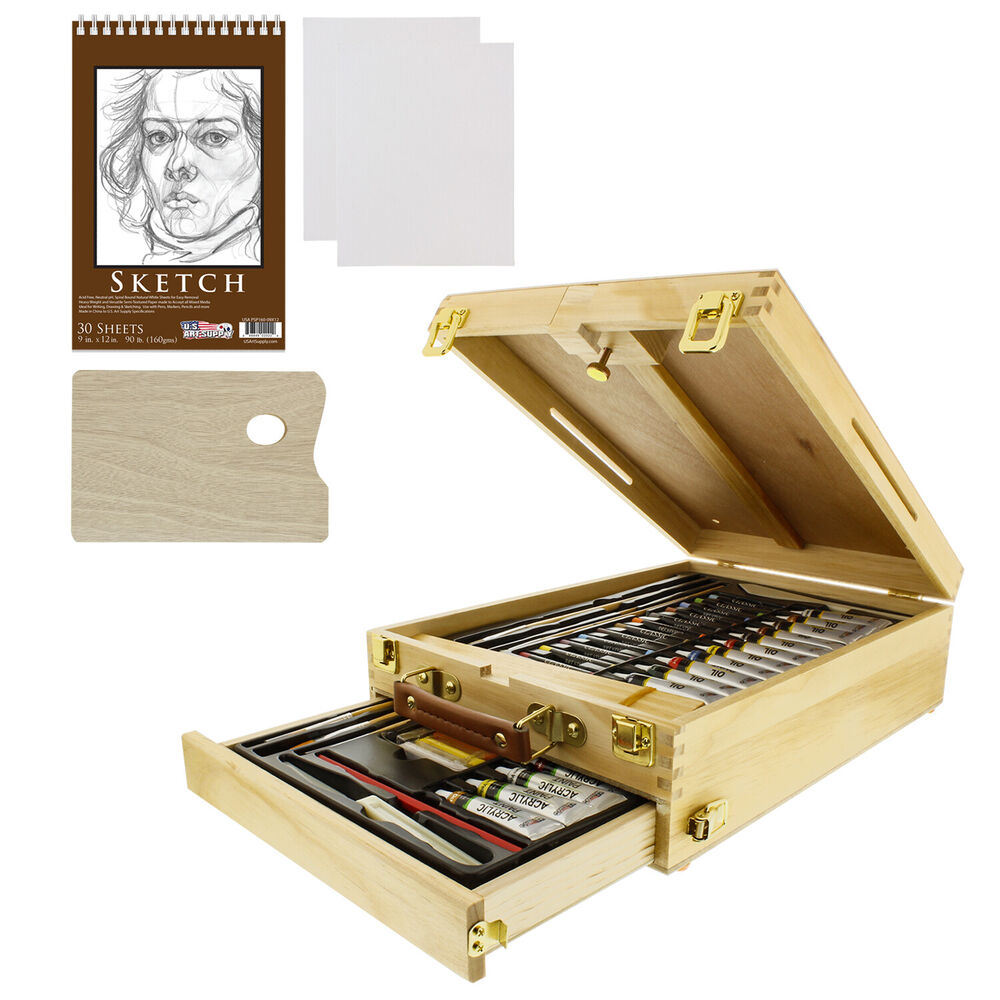 62 piece deluxe artist painting set oil acrylic paints for Craft supplies online cheap