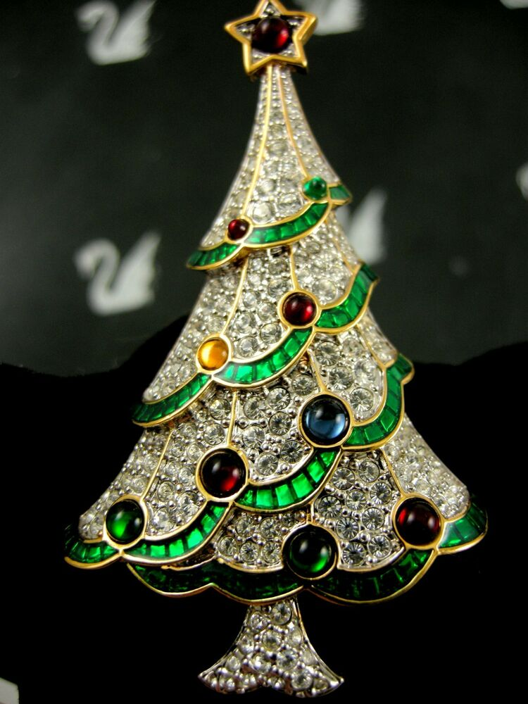 SIGNED SWAROVSKI PAVE' CRYSTAL CHRISTMAS TREE PIN~ BROOCH ...