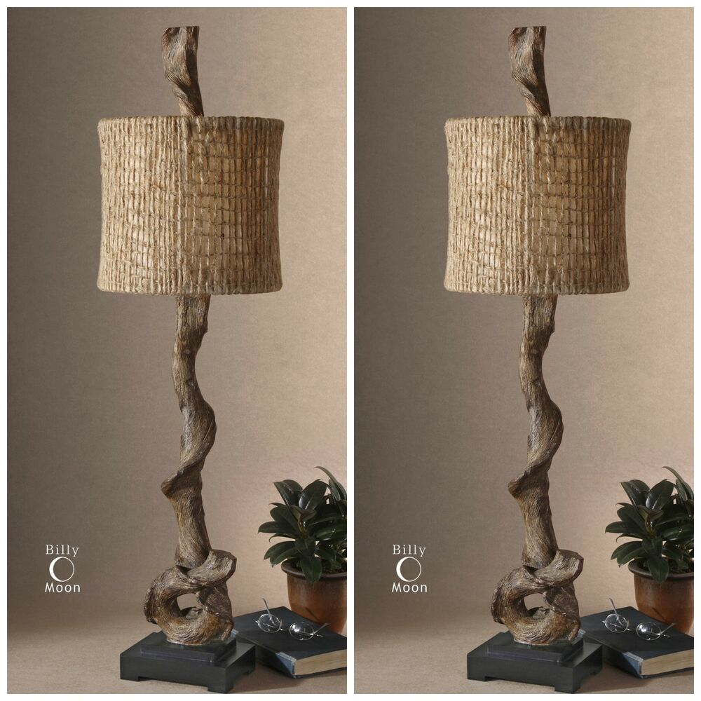 Two brown weathered driftwood table lamps black base for Brown table lamp shades