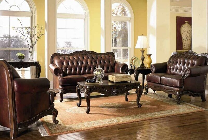 Victoria Genuine Leather Sofa Love Seat Chair Couch Set