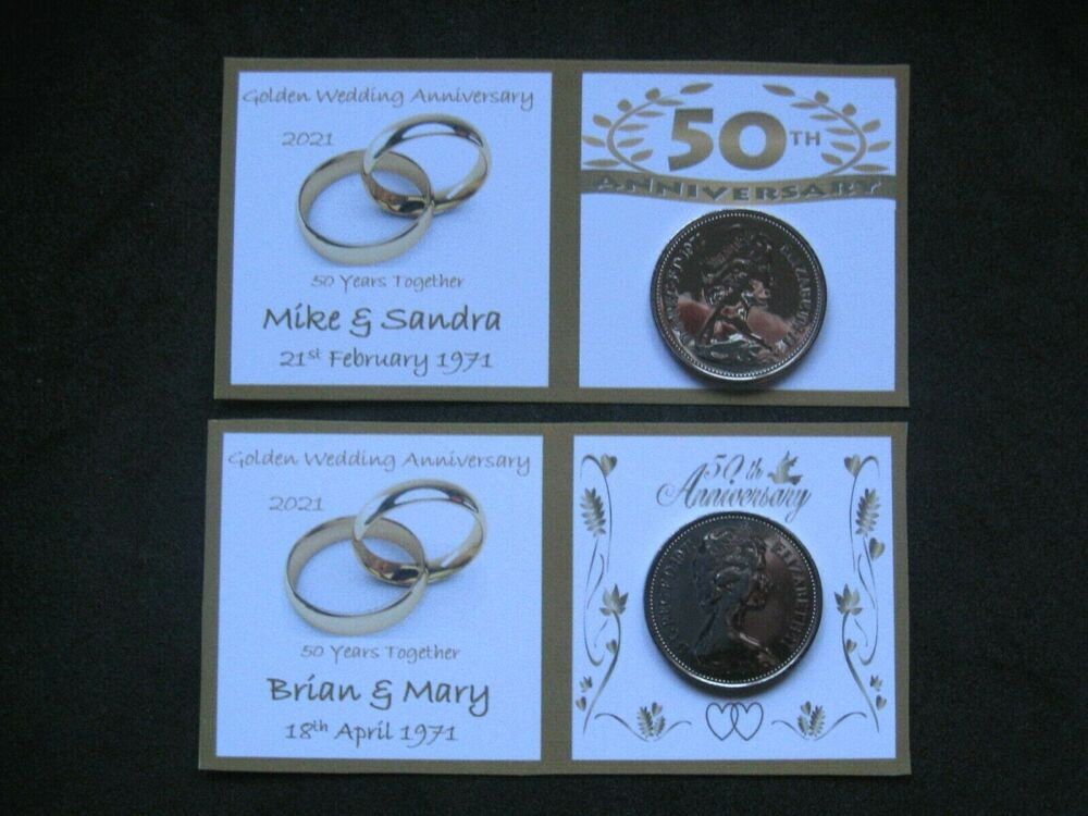 1967 sixpence for 50th golden wedding anniversary card. Black Bedroom Furniture Sets. Home Design Ideas