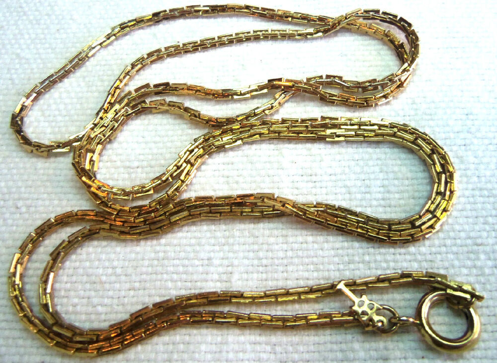 Trifari Long Gold Plated Chain Necklace 50 S Antique