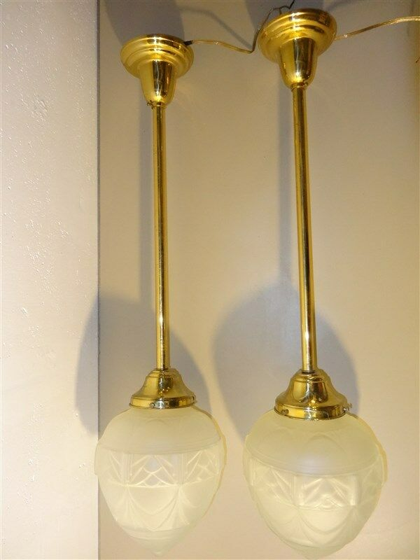 Long Brass Pendulum Light Fixtures Frosted Glass Globes