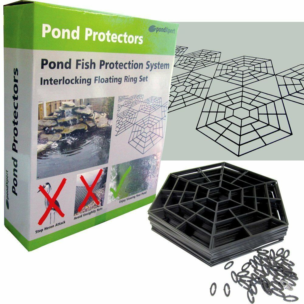 Pond guards pond plastic net rings to protect fish from for Fish pond protection