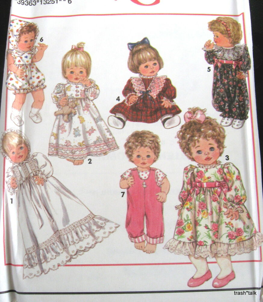 """Baby DOll clothes Pattern wardrobe 3 sizes 12"""" 14"""" 16""""18"""