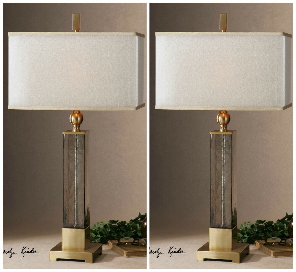 Two Textured Glass Gold Accents Table Lamps Silken