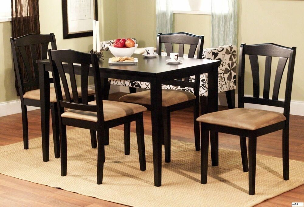 5 piece dining set wood breakfast furniture 4 chairs and for Kitchen dining room chairs