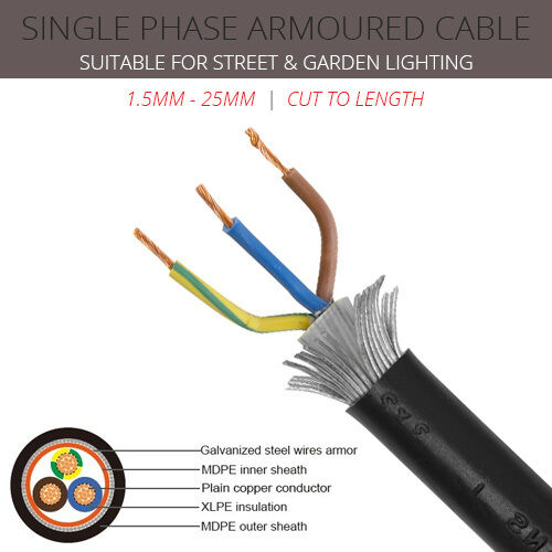 Swa Cable 2 Core Earth 1 5mm 25mm Single Phase Garden
