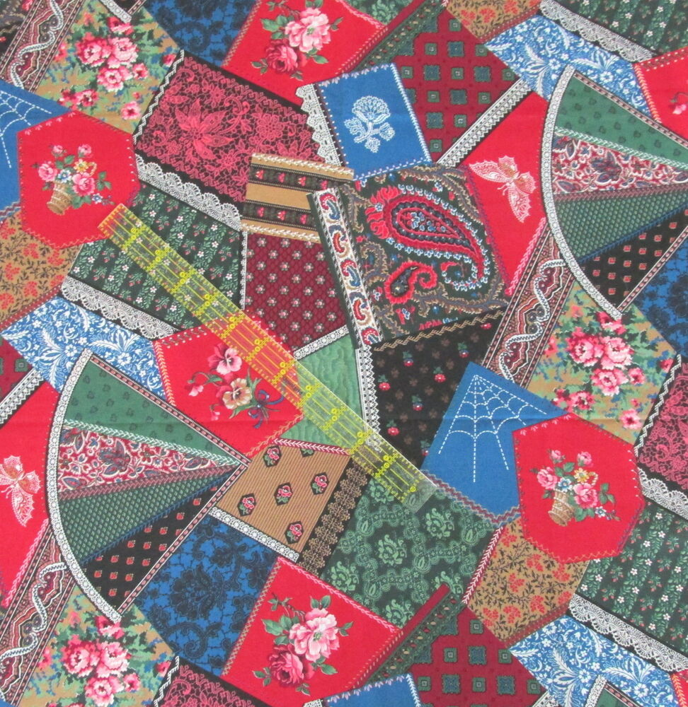Crazy Quilt Pattern Fabric : Vtg Cranston Cheater Quilt Crazy patchwork Victorian cotton fabric BTHY calico eBay