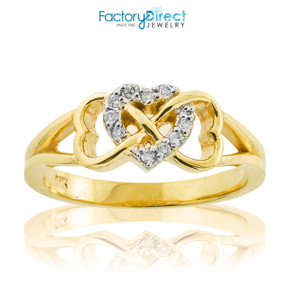 14k Gold Diamond Infinity Heart Ring Clear Stackable Ebay