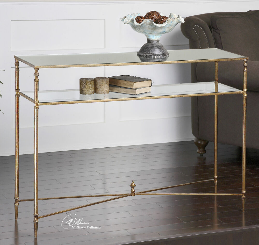 Antiqued Gold Leaf Iron Sofa Console Hall Table Tempered