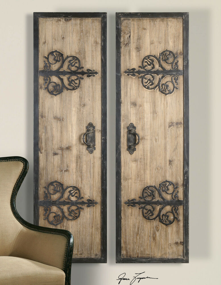 Decorative Wall Art Panels : Two quot rustic oversized decorative wall panels doors