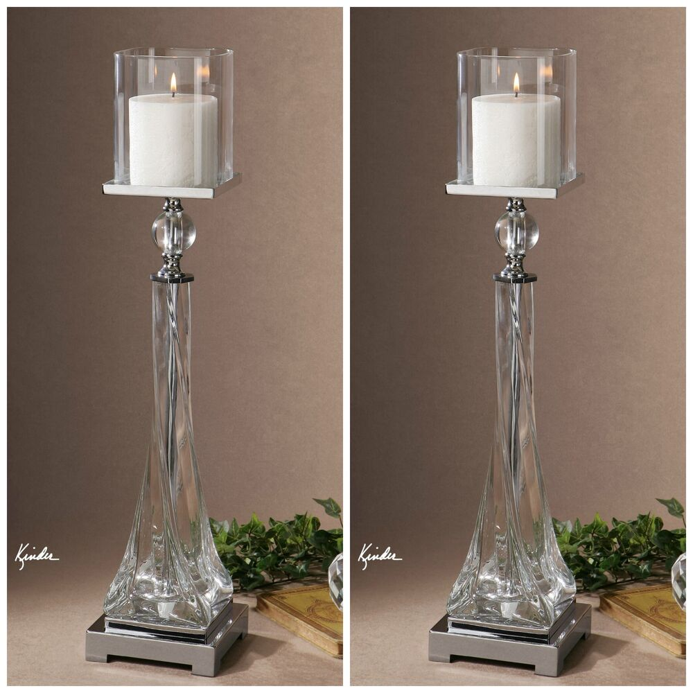 Two Large 27 Quot Twisted Glass Amp Crystal Pillar Candleholders