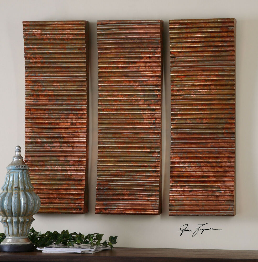 Three oxidized ribbed copper sheeting wall panels doors for Wall art panels