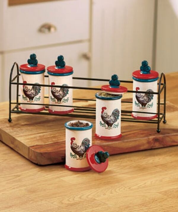 Kitchen Collection: Rooster Kitchen Collection Spice Jar Rack Set