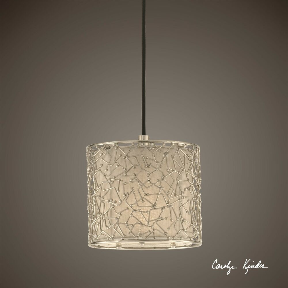 "8"" NICKEL METAL OVER FABRIC SHADE MINI HANGING SHADE"