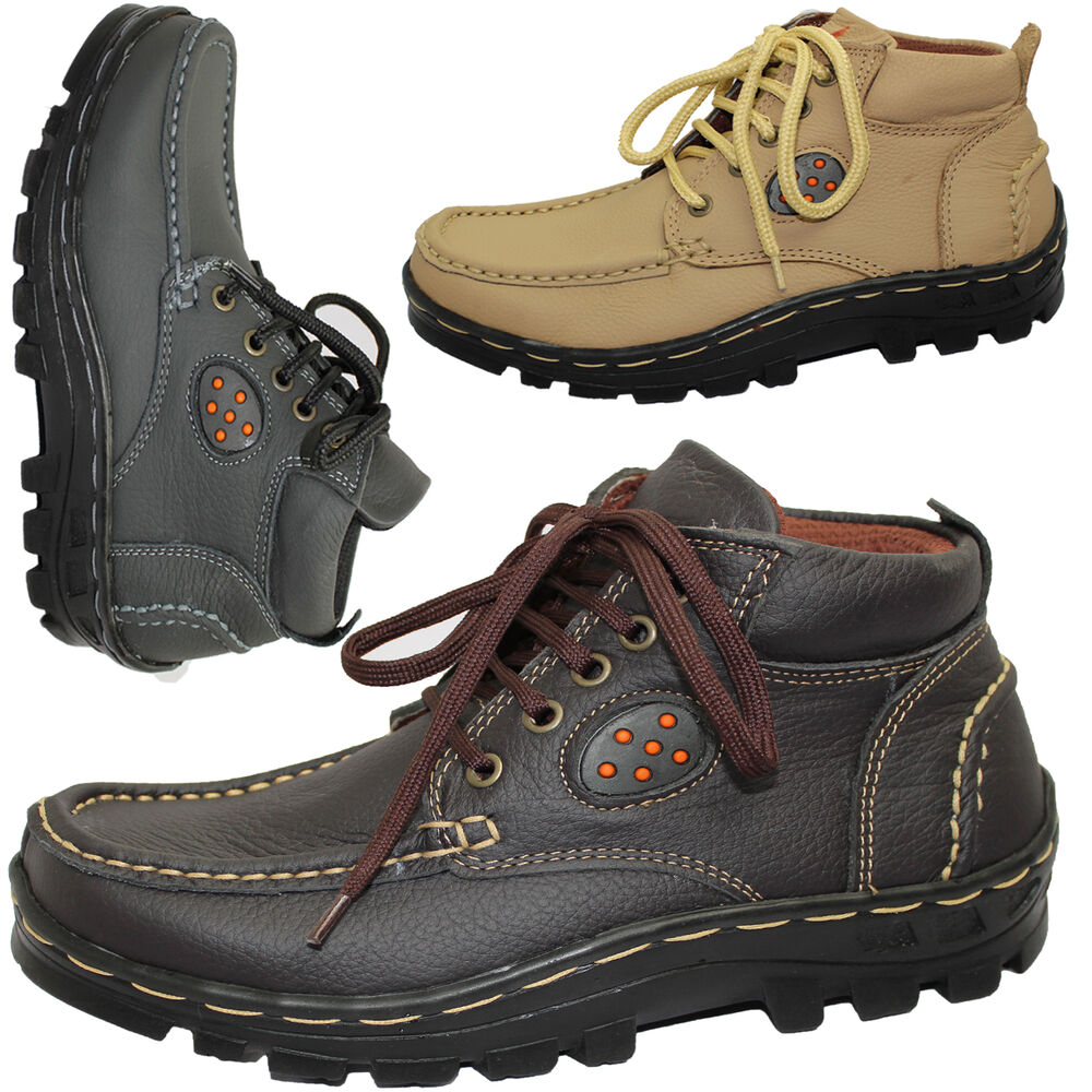 MENS LEATHER WINTER WALKING HIKING TRAIL WORK TRAINERS ANKLE BOOTS SHOES SIZE