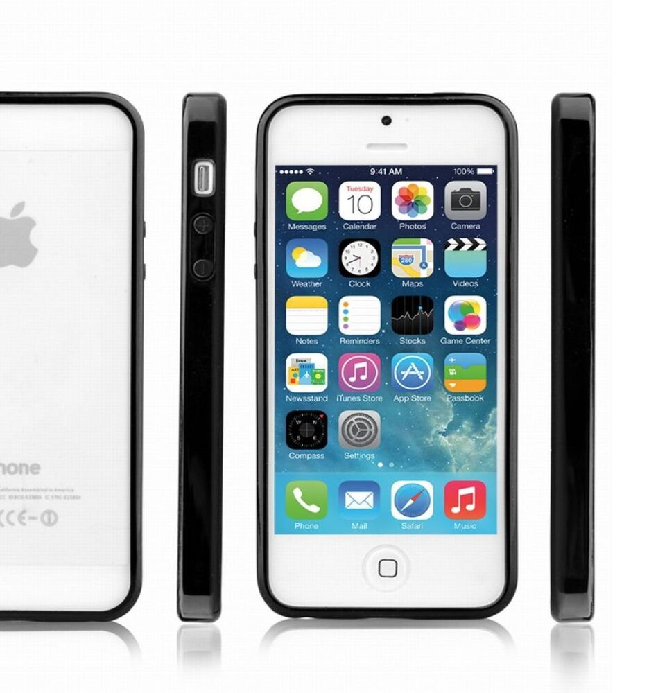 iphone 5 5s se case apple bumper with clear gloss back. Black Bedroom Furniture Sets. Home Design Ideas