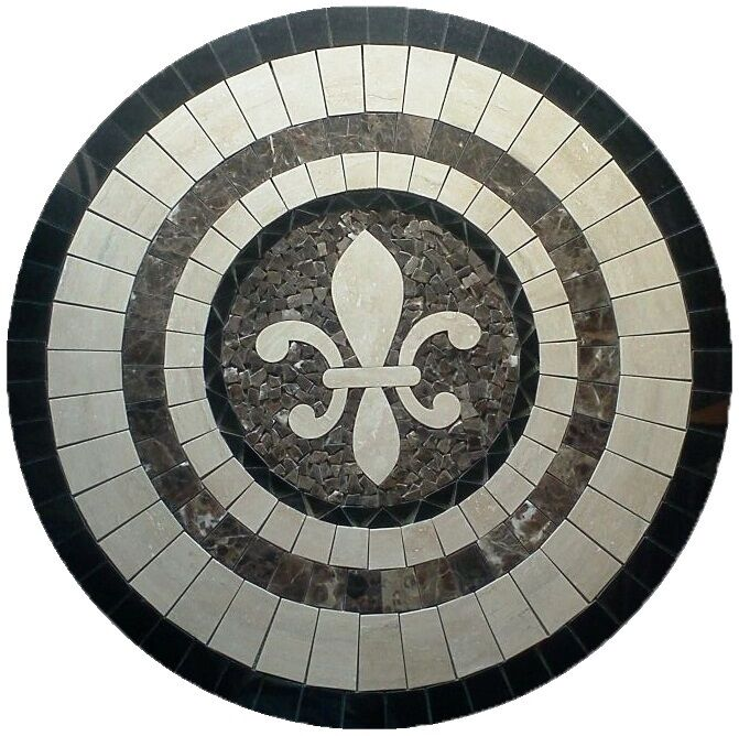 Floor Marble Round Medallion Fleur De Lis Travertine Tile
