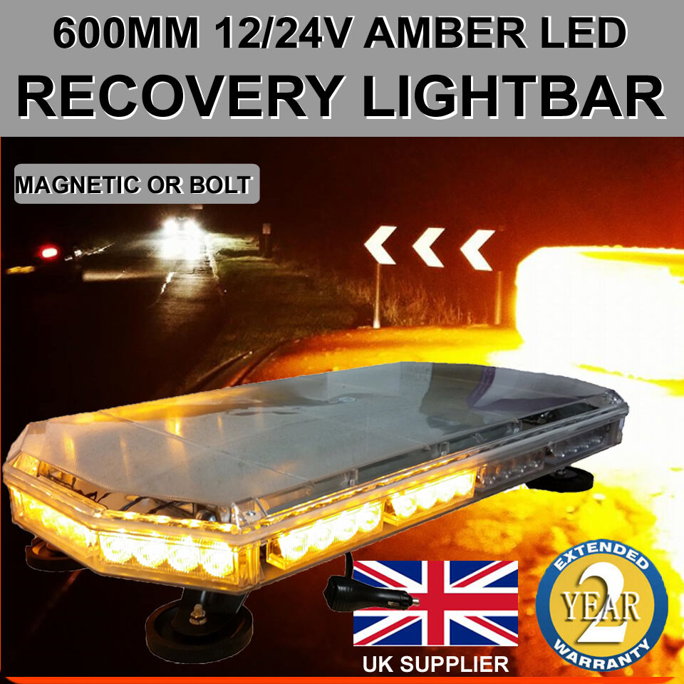 Tractor Amber Safety Lights : Amber led recovery light bar mm v flashing beacon