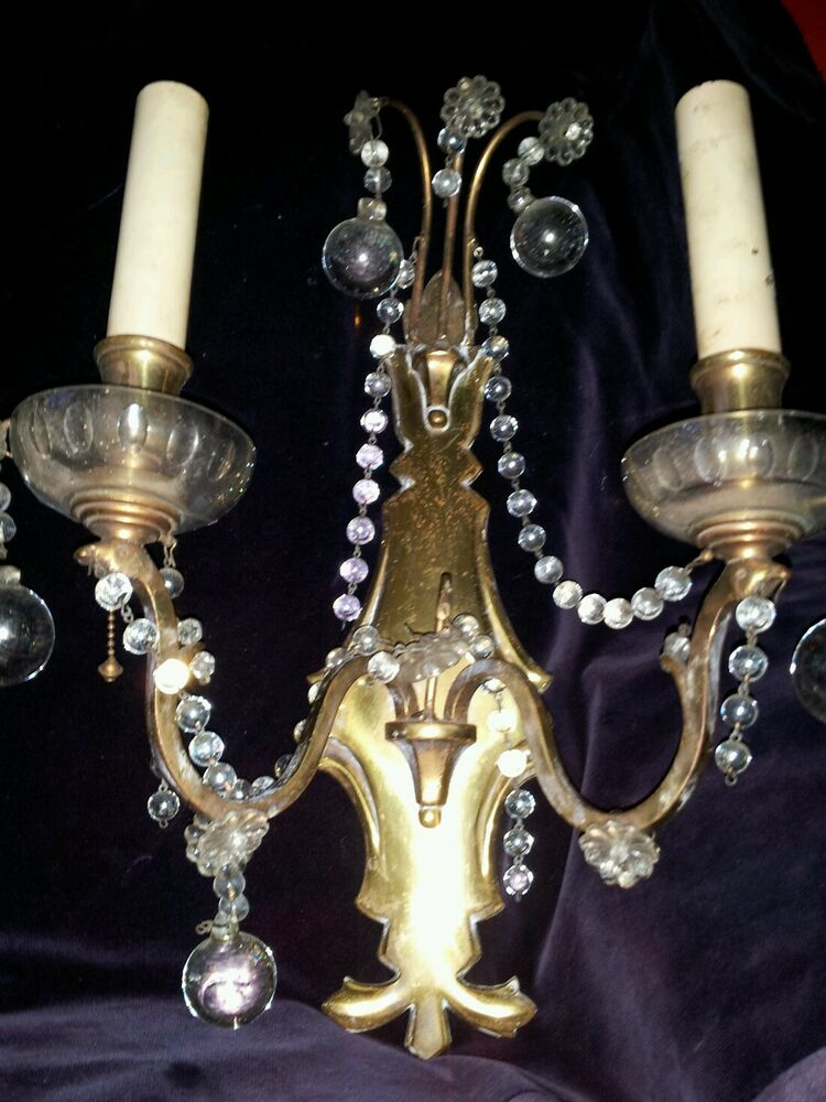 Brass Wall Sconces Electric : ANTIQUE FRENCH SCONCES BRASS ELECTRIC WALL 2 ARM CZECH GLASS BEAD, SWAG & BALL eBay