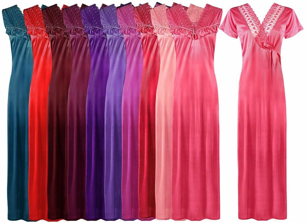 LAIDES DESIGNER NIGHTIE LONG SATIN CHEMISE NIGHTWEAR SET