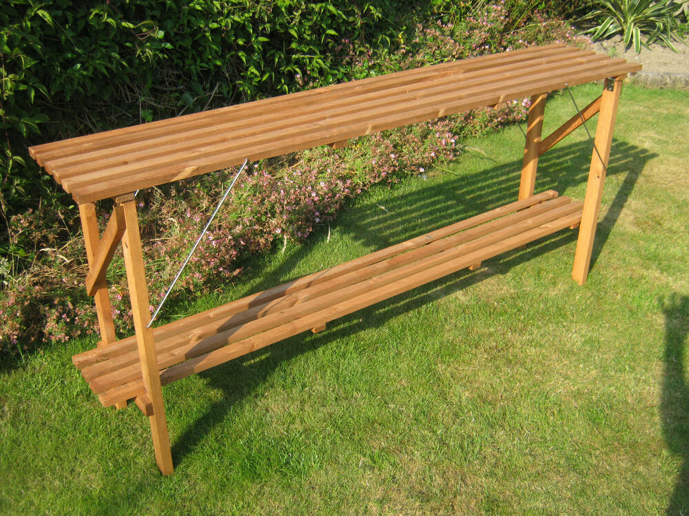 6 39 X 14 Wooden Folding Greenhouse Staging Potting Bench 6ft Ebay