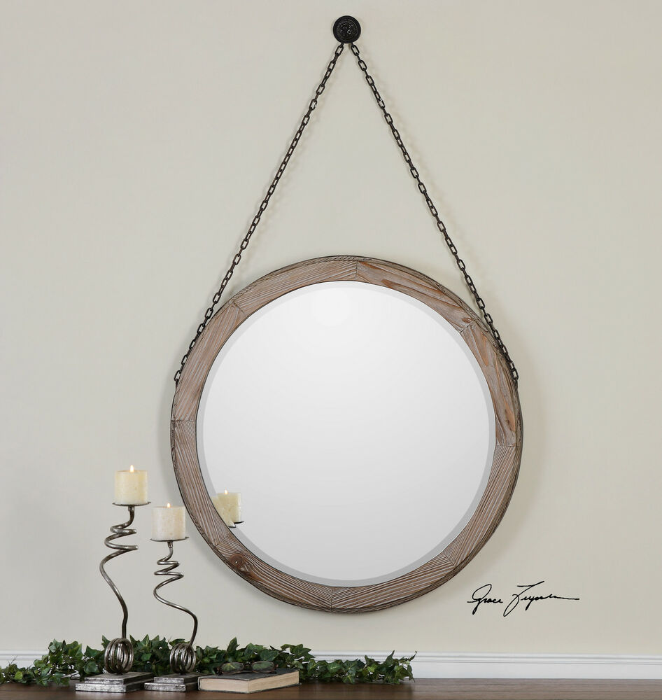 34 rustic brown wood round beveled wall mirror hanging for Hanging mirror