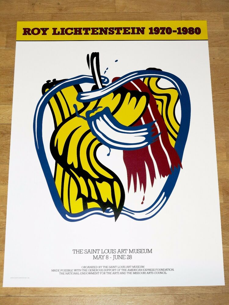 Roy lichtenstein exhibition poster apple 1981 popart for Poster roy lichtenstein