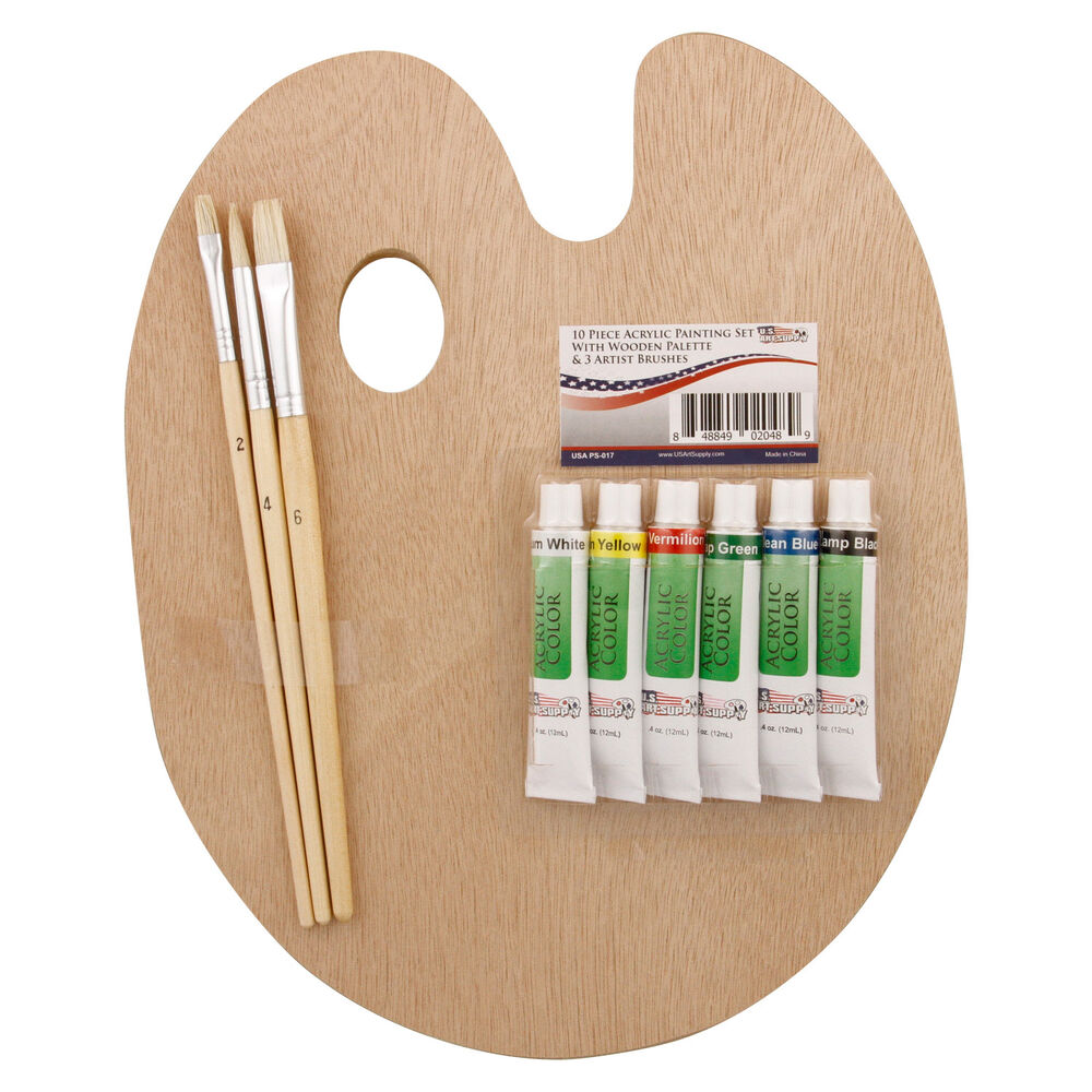 Us art supply wood palette with 6 piece acrylic paint set for Acrylic mural paint supplies