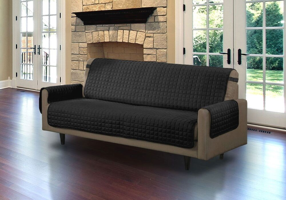quilted microfiber pet dog couch sofa furniture protector with strap black ebay. Black Bedroom Furniture Sets. Home Design Ideas