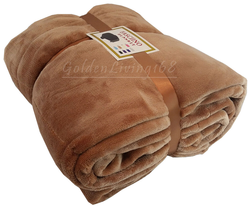 Brown super soft high quality queen borrego velour plush for Soft blankets and throws
